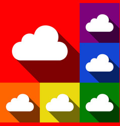 cloud sign set of icons with vector image