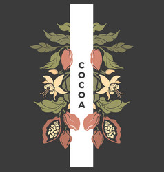cocoa frame floral pattern chocolate tree vector image