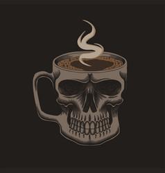 coffee glass skull vector image