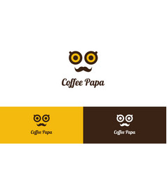 coffee papa logo with character vector image