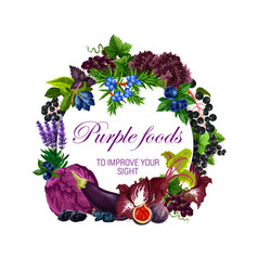 Color diet purple food healthy nutrition veggies vector
