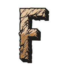 Colorful desert alphabet letter f concept vector