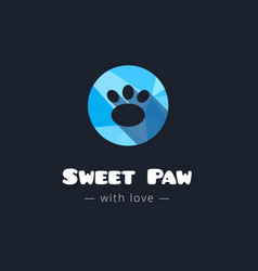 Cute paw polygonal logo Pet shop sign vector