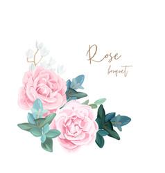 decorative corner composition pale roses white vector image