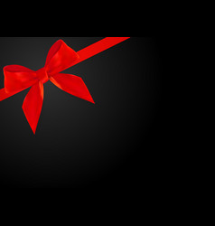 decorative red bow with red ribbon on black vector image