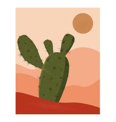 Desert abstract landscape minimalist wall art vector