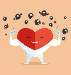 Doctor heart with syringes in his hands vector