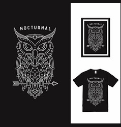 Dream bird owl line art t shirt design vector