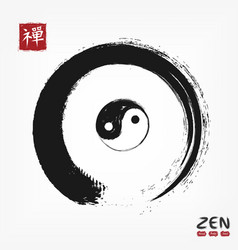 Enso zen circle with yin and yang symbol and vector