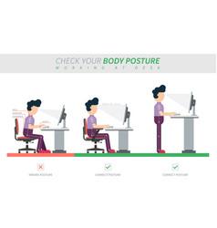Ergonomic posture sitting at desk flat vector