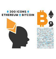 Ethereum penetrated head flat icon with clip art vector