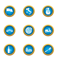 Euro municipal icons set flat style vector