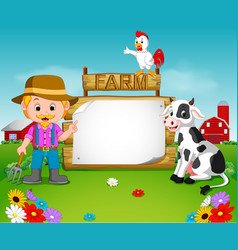 farmer with a blank wooden sign vector image