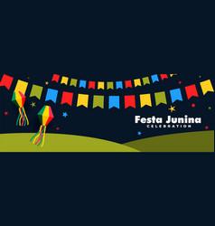 Festa junina celebration night banner vector