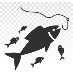 Fisherman fishing a fish with a hook lure flat vector
