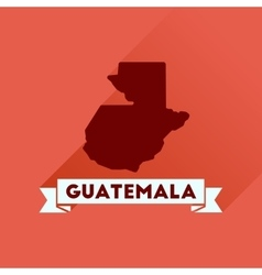 Flat icon with long shadow Guatemala map vector
