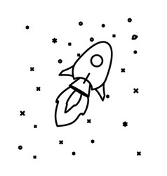 flat linear rocket flying through space vector image