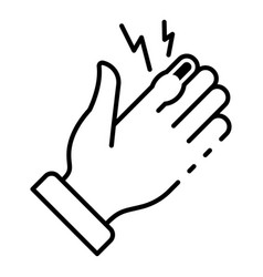frostbite hand finger icon outline style vector image