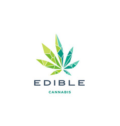 Geometric cannabis logo low poly glass crystal vector