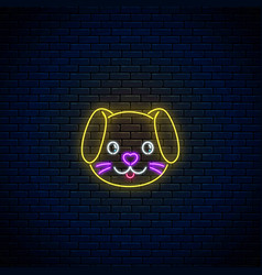 Glowing neon sign of cute dog in kawaii style vector