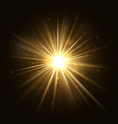 Gold star burst golden light explosion isolated vector