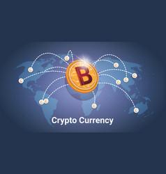 Golden bitcoin over world map digital crypto vector