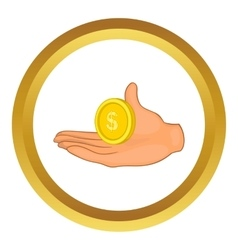 Hand with coin icon vector