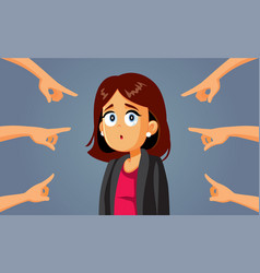 Hands pointing to a confused business woman vector