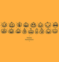 happy halloween banners flat designed row of vector image
