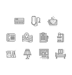 healthcare services black line icons set vector image