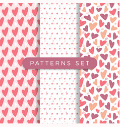 heart seamless pattern set love valentine day vector image