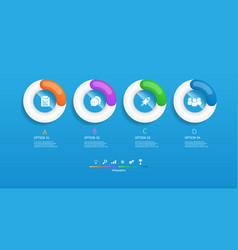 horizontal circles infographics 4 steps vector image