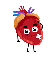 Human sick heart cartoon character vector