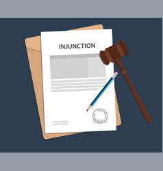 Injuction text on stamped paperwork vector
