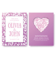 invitation or wedding cards with floral elements vector image