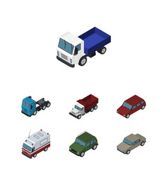 Isometric car set of freight first-aid auto and vector