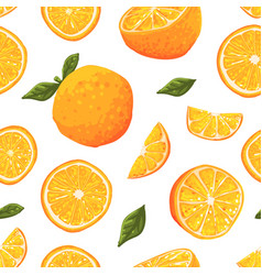 juicy ripe oranges seamless pattern freshly vector image