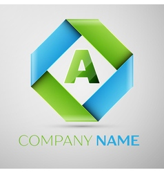 Letter A logo symbol in the colorful rhombus vector