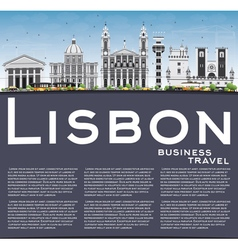 Lisbon Skyline with Gray Buildings Blue Sky vector image