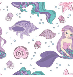 mermaid passion princess girl seamless pattern vector image