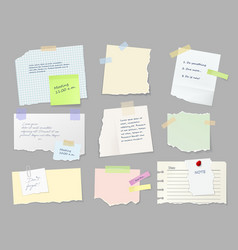 notes memo paper sheets on adhesive tape vector image