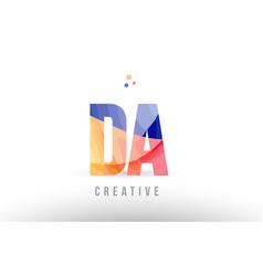 Orange blue alphabet letter da d a logo icon vector