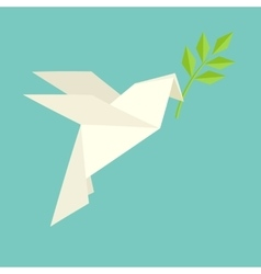 Origami dove flies and carries a twig vector image