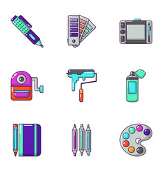Painting the room icons set cartoon style vector