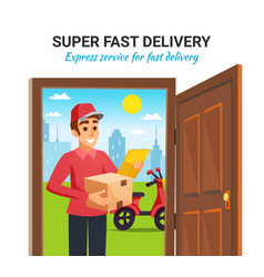 Parcel motorcycle courier delivery vector