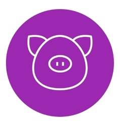 Pig head line icon vector