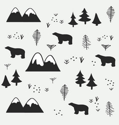 polar bear mountain and forest seamless pattern vector image