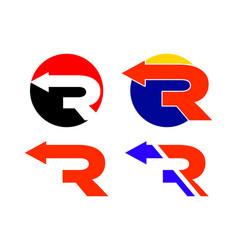 r letter arrow logo collection vector image
