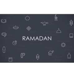 Ramadan Thin Line Icons vector image