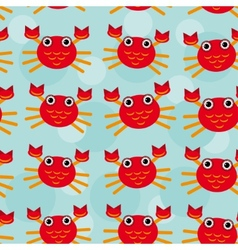 Red crayfish Seamless pattern with funny cute vector
